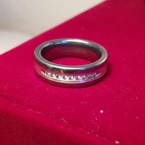 Tungsten carbide real diamonds mens 12.5 13 ring